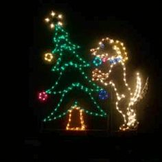 christmas animated lighted color dog with tree yard display