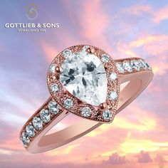 Just #SayYes to this vintage inspired 14K #Pink gold Diamond Engagement ring. This #engagement ring features a pear shaped diamond surrounded by a rose gold bead set scalloped #diamond halo with sparkling diamonds set into the band. Visit your local #GottliebandSons retailer and ask for style number 29506. http://www.gottlieb-sons.com/bridal/engagement-rings/29506
