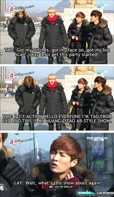 kekeke LOL Tao did well until Lay forgot on what's going on~~ kekeke~ so sad for Lay oppa~
