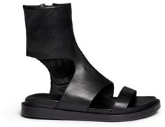 Ann Demeulemeester Cutout Leather Bootie Sandals in Black