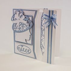 Blog tonic: Niece Blue Cameo Acetate Panel Card - Tonic Studios New Die Release - a card from Karen
