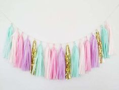Pastel Mint Green, Pink and Purple Tassel Garland - Pastel Party Decor, Mint and Purple Decor, Pink and Mint Garland, Unicorn Party Decor Unicorn Diy, Unicorn Baby Shower, Pink Party Decorations, Baby Shower Decorations, Baby Shower Bunting, Unicorn Birthday Parties, Unicorn Party, 5th Birthday, Birthday Ideas