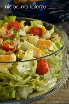 Sałata z kurczakiem - niebo na talerzu Lettuce, Potato Salad, Cabbage, Chicken, Lunch, Vegetables, Cooking, Ethnic Recipes, Drink