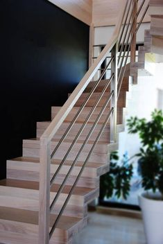 Heavy pipe for horizontals. Staircase Railing Design, Interior Stair Railing, Wood Staircase, Staircase Railings, Banisters, Stairways, Modern Stairs, My Dream Home, New Homes