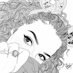 Looks like mahogany lox Tumblr Girl Drawing, Tumblr Sketches, Tumblr Drawings, Tumblr Art, Cute Girl Drawing, Drawing Sketches, Tumblr Outline, Outline Art, Outline Drawings
