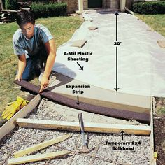 Awesome brick walkway patterns – go to our article for many more creative concepts! Awesome brick walkway patterns – go to our article for many more creative concepts! Concrete Tools, Concrete Driveways, Concrete Projects, Outdoor Projects, Concrete Curbing, Flagstone Path, Walkways, Garden Projects, Side Walkway