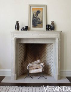 James Michael Howard.;   Herringbone brick pattern inside fireplace