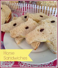 Horse  party food-->horse head sandwiches. Super easy and fun!