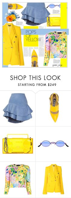 """""""Get Happy: Pops of Yellow"""" by goreti ❤ liked on Polyvore featuring Siobhan Molloy, Jacquemus, Moschino, Roberi & Fraud, Boutique Moschino, STELLA McCARTNEY, PopsOfYellow and NYFWYellow"""