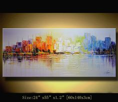 Textured Modern Palette Knife Painting byChen  Size:  24x55x1.2  [60x140x3cm]  Stretched thickness: 1.2 (3cm )  Technique: Heavy textured and