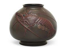 An Impressive Bronze Vase with a Crayfish, SIGNED SHOUN SAKU AND SEALED SHOUN, MEIJI PERIOD (LATE 19TH CENTURY)