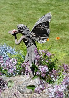 Fairy Stone Garden Statue Color Photograph  by CalmWatersCreations, $5.00