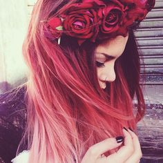 Luanna Perez. Flower crown.red hair.nose ring