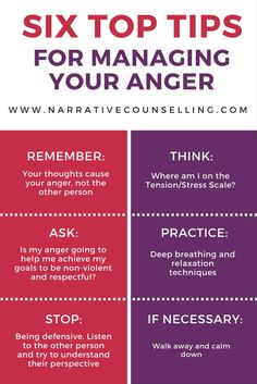 Six Top Tips For Managing Your Anger. Great to remember in times of anger.