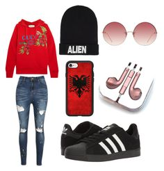 Bad and boujee by hannahefoster233 on Polyvore featuring polyvore, moda, style, Gucci, adidas, Nicopanda, Casetify, Linda Farrow, PhunkeeTree, fashion and clothing
