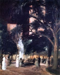 """Throbbing Fountain, Night"" -- John Sloan, 1908. Madison Square Park was a favorite haunt of painter Sloan, who lived nearby in Chelsea in the early 1900's. He liked the diverse mix of people he could observe there, but also a  30-foot fountain at the south end of the park that he called the 'Throbbing Fountain'. Unfortunately, by 1908 the fountain had been dismantled."