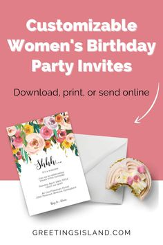 At Greetings Island, we want to make your birthday extra special! That's why we've created a huge selection of customizable women's birthday party invitations. Pick out your favorite invite today! #custominvite #custominvitation Free Birthday Invitations, Custom Invitations, Make It Yourself, Invite, Island, Islands