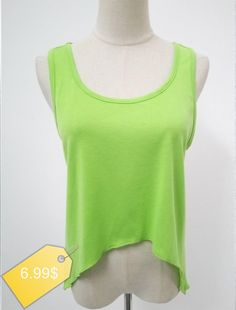 Brief Candy Color Scoop Neck Asymmetric Women's Tank Top
