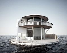 Floating Circular Small House with Wrap Around Deck - Tiny House Pins Amazing Architecture, Architecture Design, Floating Architecture, Creative Architecture, Water House, Boat House, Ocean House, Water Life, Design Exterior