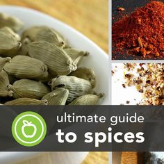 Ultimate Guide to Spices ~ We've already delved into the green world of fresh herbs, but now it's time to dust off the old spice jars to find out why they're good for us and how to use them. Pepper may be the only one you're used to, but we've got the specifics on more spices, and spice blends, to flavor healthy meals from breakfast to dessert.