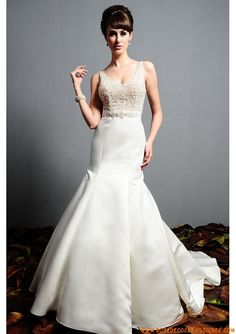 Belle robe originale 2013 avec traîne bretelles perles robe de mariée satin