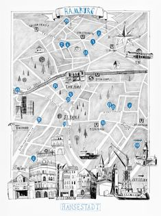 Beautiful hand-drawn city map of Hamburg, Germany illustrated by Andre Gottschalk for CUT Magazine