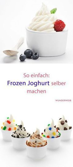 Frozen yogurt: Just do it yourself! Frozen yogurt is the perfect refreshment on warm summer days, tastes incredibly delicious and is easy to prepare. Healthy Chicken Recipes, Mexican Food Recipes, Beef Recipes, Vegetable Recipes, Appetizer Recipes, Dessert Recipes, Snacks Recipes, Dinner Recipes, Casserole Recipes