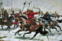 Mongol warriors battling on horseback while attacking with the short bow.
