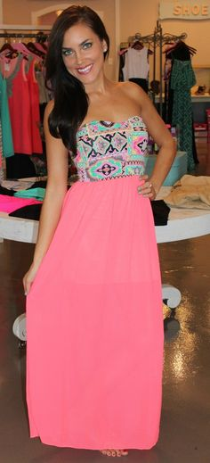 Neon Printed Tube Maxi - Dottie Couture Boutique