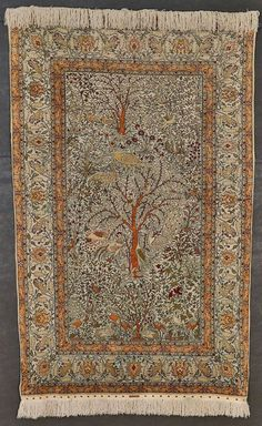 Hereke -  Pure Silk and Metallic Pictorial rug, 183x112 cm,  1200 KPSI,  1950s