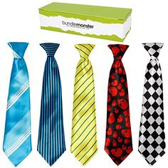 Let you kids fashion sense rise up with these 5 piece sets of boys ties. All ties in these sets are pre-tied and use a comfortable elastic cord to keep the ties in place. Choose from 6 different sets that have a mix of different design polyester ties. The ties length, from knot to tie tip, is 11.5 inches and is 2.5 inches wide at its widest. *NOTE*: Due to differences between monitor displays, actual color may vary slightly from image. Bundle Monster is a registered trademark of Remi…