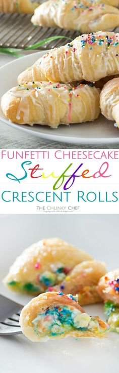 Buttery crescent rolls are filled with an easy funfetti cheesecake spread baked until golden and drizzled with a vanilla glaze! Perfect for kids (Favorite Desserts Crescent Rolls) I Love Food, Good Food, Yummy Food, New Food, Delicious Snacks, Yummy Treats, Sweet Treats, Crescent Roll Recipes, Stuffed Crescent Rolls