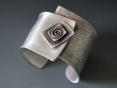 """Square on Cuff"" Sterling Silver & 14K Gold Cuff - B Nelson Designs Store"