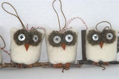 Wholesale lot of 15... Snowy Owl ... eco felt winter white wool ornament all recycled materials (woolcrazy)