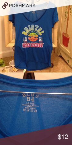 BLUE 84 BRISTOL MOTOR SPEEDWAY HIGH LOW TEE. ITS BRISTOL BABY🏎  LADIES BRISTOL MOTOR SPEEDWAY 🏎  HIGH LOW TEE THUNDER VALLEY. SIZE L BLUE 84 Tops Tees - Short Sleeve
