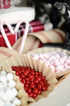 Red hot candies for Front Porch Hot Cocoa Bar, Hot Chocolate Bar, Winter Party Idea, Christmas Party Idea