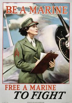 WW2 poster Wow, imagine that Women as Marines! An Enlistment poster aimed at women.