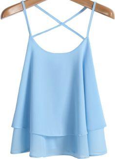 Blue Criss Cross Loose Chiffon Vest pictures