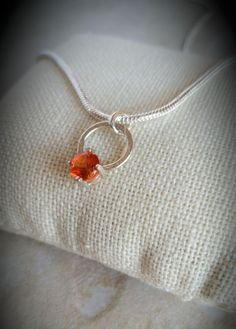 Open Circle Pendant with Topaz CZ by CatsCreationsLLC on Etsy