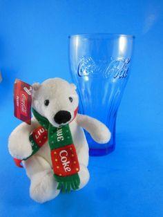 Coca Cola Coke Blue Glass Plus Polar Bear Plush #CocaColaCoke