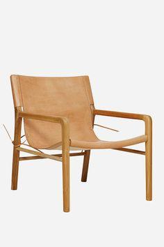 Leather & Teak Sling Chair | x 2 @ $890 each | Fenton and Fenton
