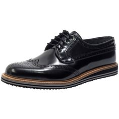 Jared Lang Men's Broguing Leather Derby Shoe - Black, Size 45 ($199) ❤ liked on Polyvore featuring men's fashion, men's shoes, men's oxfords, black, mens leather brogues, mens leather shoes, mens black shoes, mens shoes and mens leather derby shoes