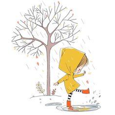 Play in the rain - - illustration Play in the rain – Top Trends Art And Illustration, Illustration Mignonne, Doodle Art, Doodles Bonitos, Art Mignon, Cute Doodles, Oeuvre D'art, Cute Drawings, Cute Art