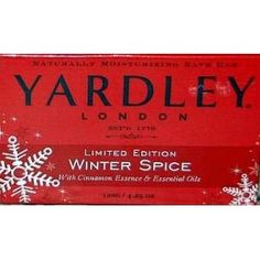 Yardley Soap Natural Limited Edition Winter Spice with Cinnamon Essence 4.25 oz.