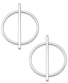 Inc International Concepts Gold-Tone Circular Line Stud Earrings, Only at Macy's - Silver