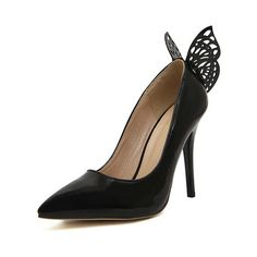 SheIn(sheinside) Black Point Toe With Butterfly High Heeled Pumps ($31) ❤ liked on Polyvore featuring shoes, pumps, black, high heel shoes, heels stilettos, high heel pumps, black pointy-toe pumps and pointed toe pumps