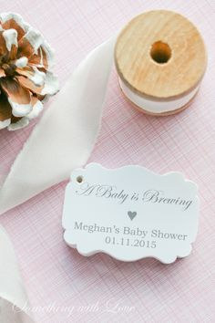 Gray Baby Shower Inspiration - Baby Shower Favor Tags - Shower Favors - Set of 40 www.somethingwithlove.etsy.com www.somethingwithlove.com