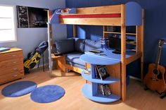 Here is Futon Bunk Bed with Desk Metal Design Ideas for Kids Photo Collections at Bedroom Furniture Catalogue. More Picture Futon Bunk Bed with Desk can you found at her Bunk Bed Sets, Futon Bunk Bed, Bunk Bed With Desk, Loft Beds, Bed Couch, Little Boy Bedroom Ideas, Cool Bedrooms For Boys, Boys Room Design, Boys Room Decor
