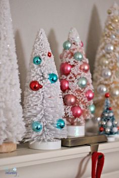 Bottle Brush Tree Christmas Mantel