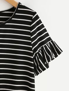 Shop Frilled Sleeve Striped Tee online. SheIn offers Frilled Sleeve Striped Tee & more to fit your fashionable needs.